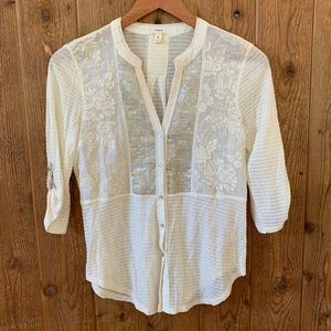 Anthropologie Tiny Ivory Sequin Embroidered Top